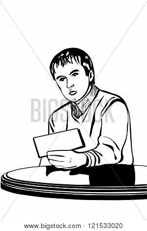 Vector Sketch Of A Man At A Table Reading A Note