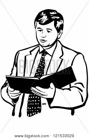 Vector Sketch Of A Man In A Jacket And Tie Reading Reports