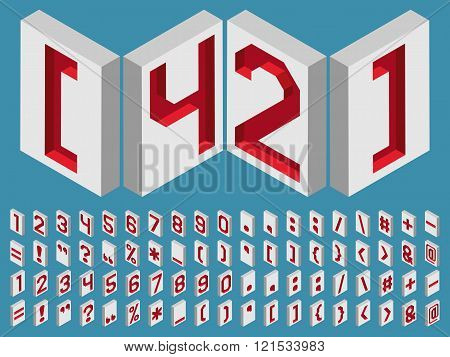 Isometric alphabet vector font. Three-Dimensional stock vector. Engraved numbers and punctuation marks isometric.
