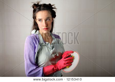 portrait of a beautiful housewife cleaning a dish