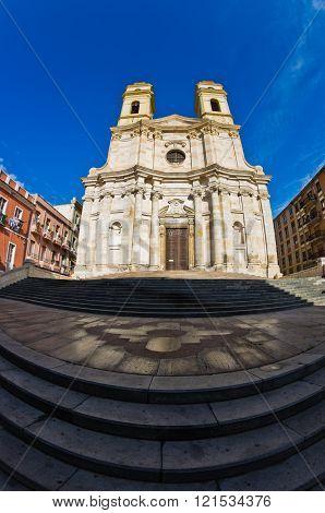 Entrance to Saint Anne church at Cagliari historical downtown, Sardinia