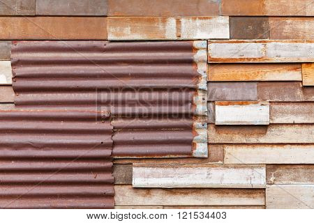 Old And Rusty Corrugated Metal Sheet Wall
