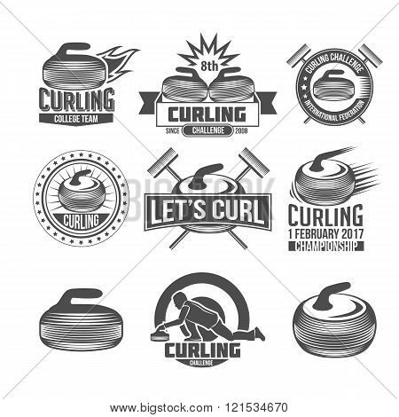 Curling sport badges set