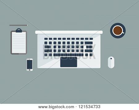 Workspace Illustration In Calm Tones