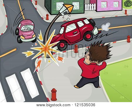 Illustration of a car accident at the crossroads.