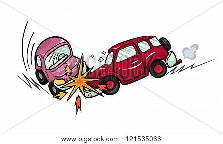 Illustration of two cartoon cars involved in a car wreck.