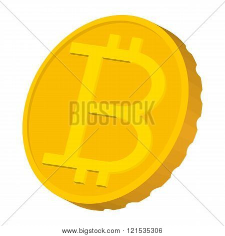 Gold coin with Bitcoin sign icon, carton style