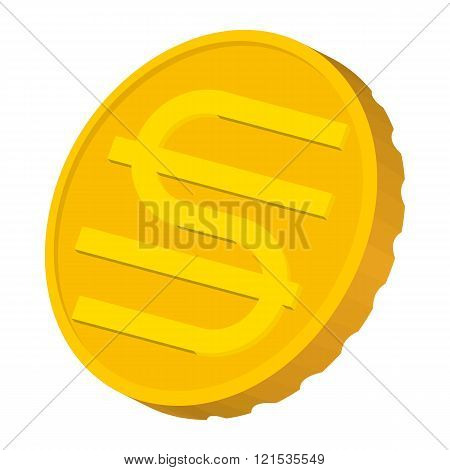 Gold coin with Hryvnia sign icon, cartoon style