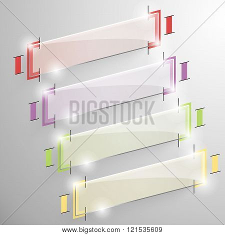 Set vector skew banner with colorful line.
