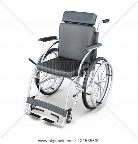 Wheelchair on a white background. 3d render image