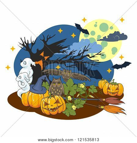 The Illustration On A Halloween Theme.