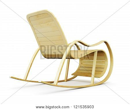 Wooden rocking chair isolated on white background. 3d render ima