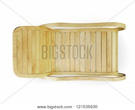 Wooden rocking chair isolated on the white background. Top view.