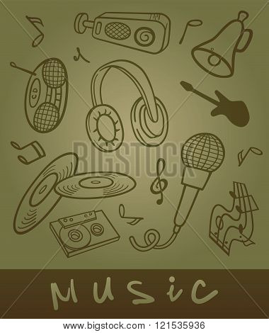 Set of musical objects.