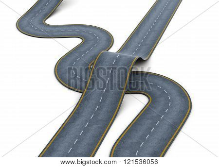 Road over each other on white background. 3d rendering