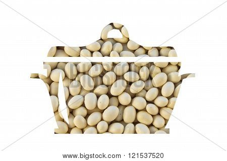 Haricot Beans White Color In A Painted Pot