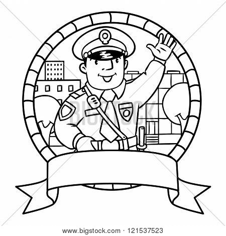 Funny Policeman. Coloring Book Or Emblem