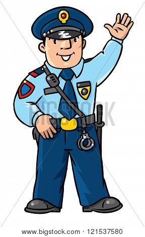Funny Policeman. Children Vector Illustration