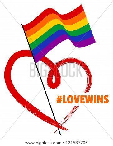 LGBT Rainbow Flag and Heart