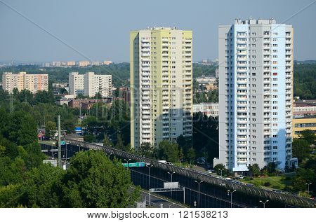 Residential skyscrapers in Katowice, Poland (view from old mine shaft)