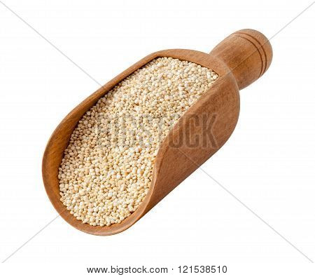 White Pearl Quinoa In A Wood Scoop