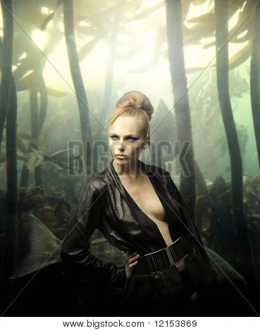 portrait of beautiful woman model against underworld background