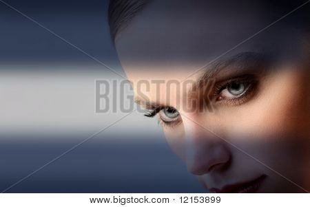 closeup of beautiful woman eyes