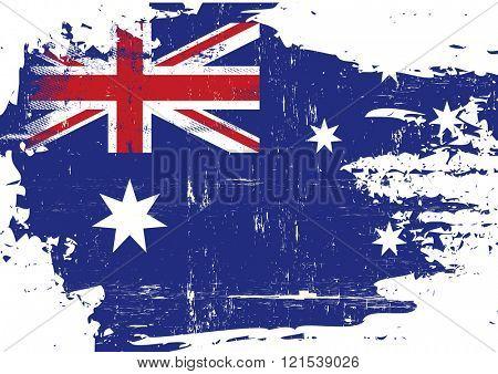 Australian scratched Flag. An australian flag with a grunge texture