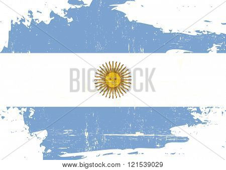 Argentina scratched Flag. An argentinian flag with a grunge texture