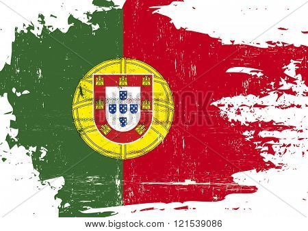 Portuguese scratched Flag. A portuguese flag with a grunge texture
