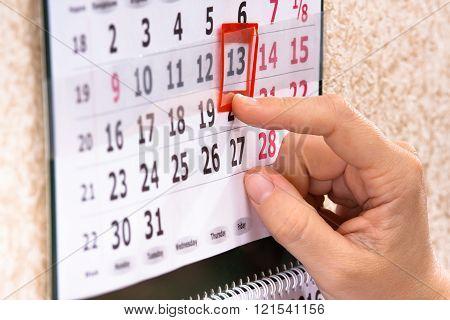 Hand Marking 13Th, Friday On Calendar