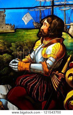 Detail of stain glass window depicting Vasco da Gama.