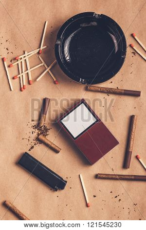 Passionate Smoker Flat Lay Table Top View Arrangement