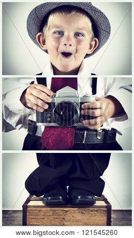 Triptych Of Young Boy Playing With An Old Camera