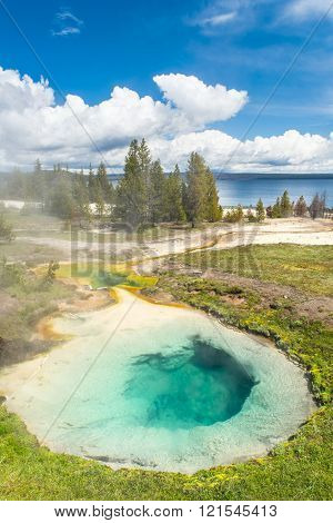 Detailed photo of Bluebell pool from above. Yellowstone National Park, Wyoming, USA
