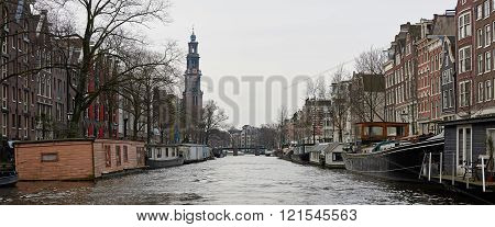 Canals And Houses In Amsterdam, Netherlands
