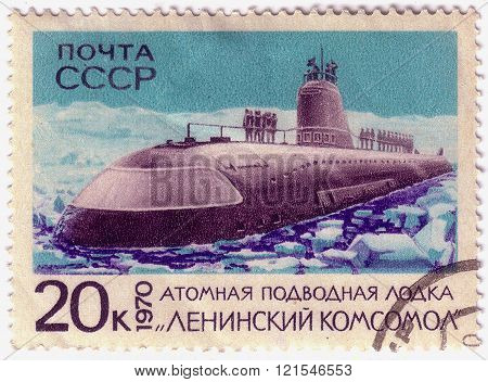Ussr - Circa 1970: Stamp Printed In Ussr Shows Nuclear Submarine,circa 1970.