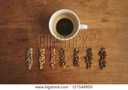 Grades Roasting Coffee Near Espresso Cup Wooden Table Top View