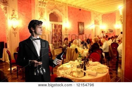 waiter in a luxury hotel