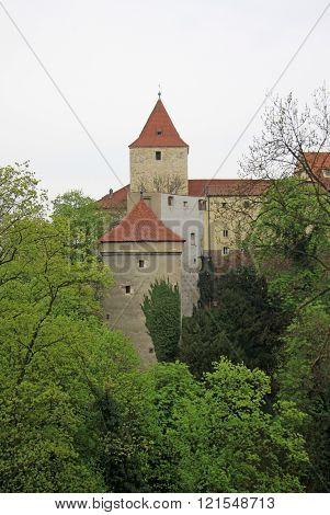 Prague, Czech Republic - April 29, 2013: View Of Prague Castle Towers And Deer's Moat