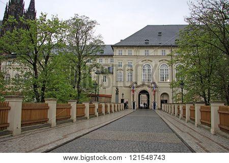 Prague, Czech Republic - April 29, 2013: Powder Bridge To Prague Castle, North Entrance To The Pragu