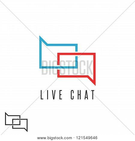 Live chat logo mockup speech message red and blue emblem communication talk chatting discussion club