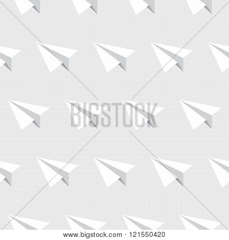 Paper planes seamless pattern. Repeating abstract background with paper planes. Papercraft airplanes texture. EPS8 vector illustration includes Pattern Swatch.