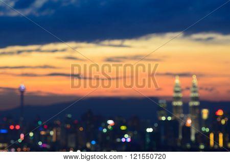 Bokeh Cityline Of Kuala Lumpur At The Sunset