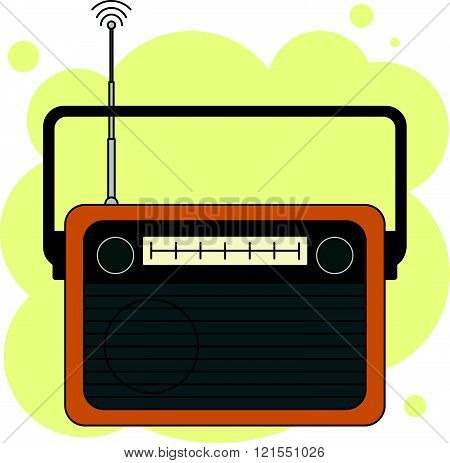 Old-fashioned analog orange radio receiver with antenna in vector isolated on abstract yellow background