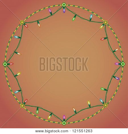 Garland. Decorative frame and background
