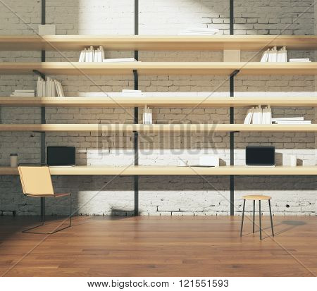 Interior With Wooden Bookshelves