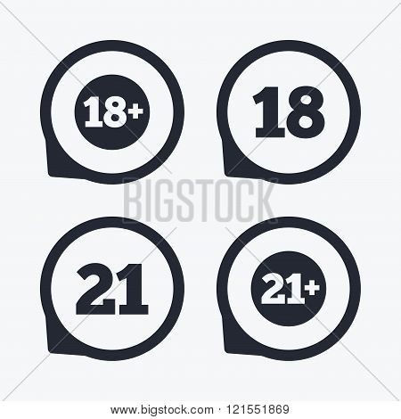 Adult content icons. Eighteen plus years sign.