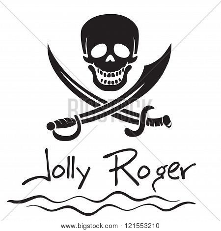Jolly Roger, pirate's flag, skull and daggers.