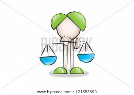 Justice scales icon and cartoon characters. To decide.